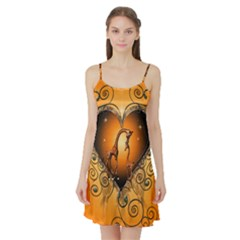 Funny Cute Giraffe With Your Child In A Heart Satin Night Slip