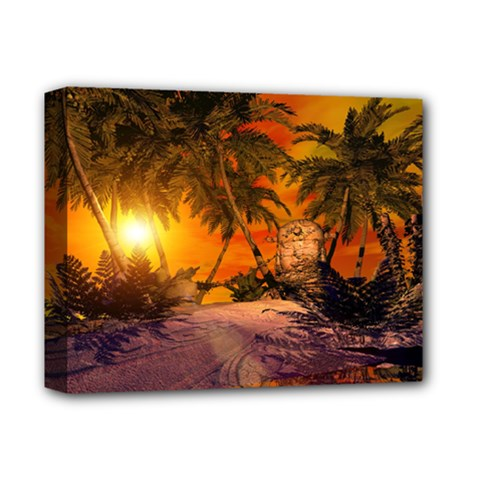 Wonderful Sunset In  A Fantasy World Deluxe Canvas 14  x 11