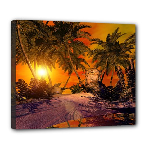 Wonderful Sunset In  A Fantasy World Deluxe Canvas 24  x 20