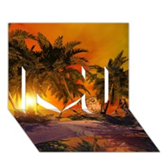 Wonderful Sunset In  A Fantasy World I Love You 3d Greeting Card (7x5)