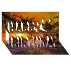 Wonderful Sunset In  A Fantasy World Happy Birthday 3D Greeting Card (8x4)