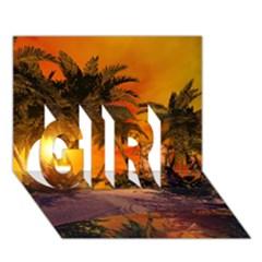 Wonderful Sunset In  A Fantasy World GIRL 3D Greeting Card (7x5)