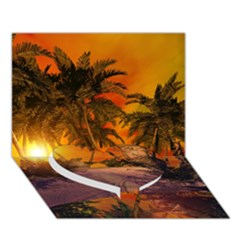 Wonderful Sunset In  A Fantasy World Heart Bottom 3D Greeting Card (7x5)