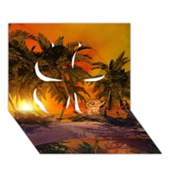 Wonderful Sunset In  A Fantasy World Clover 3d Greeting Card (7x5)