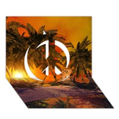Wonderful Sunset In  A Fantasy World Peace Sign 3D Greeting Card (7x5)