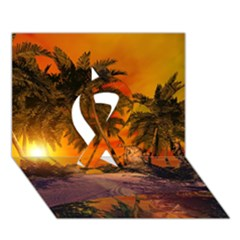 Wonderful Sunset In  A Fantasy World Ribbon 3D Greeting Card (7x5)