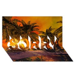 Wonderful Sunset In  A Fantasy World SORRY 3D Greeting Card (8x4)