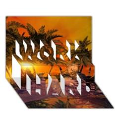 Wonderful Sunset In  A Fantasy World WORK HARD 3D Greeting Card (7x5)