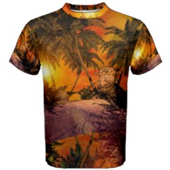 Wonderful Sunset In  A Fantasy World Men s Cotton Tees