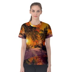 Wonderful Sunset In  A Fantasy World Women s Cotton Tees