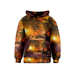 Wonderful Sunset In  A Fantasy World Kid s Pullover Hoodies