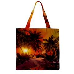Wonderful Sunset In  A Fantasy World Zipper Grocery Tote Bags