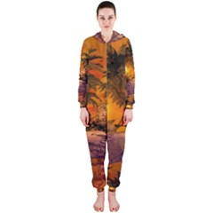 Wonderful Sunset In  A Fantasy World Hooded Jumpsuit (Ladies)