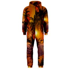 Wonderful Sunset In  A Fantasy World Hooded Jumpsuit (Men)