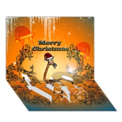 Funny, Cute Christmas Giraffe Love Bottom 3d Greeting Card (7x5)