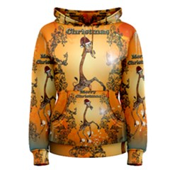 Funny, Cute Christmas Giraffe Women s Pullover Hoodies