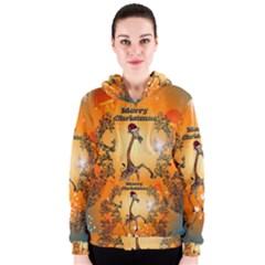 Funny, Cute Christmas Giraffe Women s Zipper Hoodies
