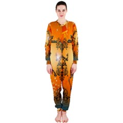 Funny, Cute Christmas Giraffe OnePiece Jumpsuit (Ladies)