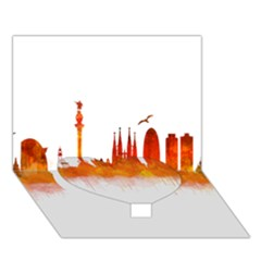 Barcelona 02 Heart Bottom 3D Greeting Card (7x5)