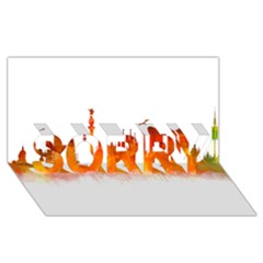 Barcelona 02 Sorry 3d Greeting Card (8x4)