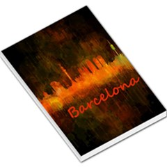 Barcelona City Dark Watercolor Skyline Large Memo Pads