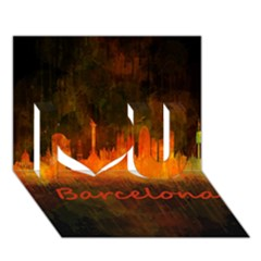Barcelona City Dark Watercolor Skyline I Love You 3d Greeting Card (7x5)