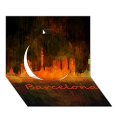 Barcelona City Dark Watercolor Skyline Circle 3d Greeting Card (7x5)