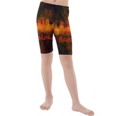 Barcelona City Dark Watercolor Skyline Kid s swimwear