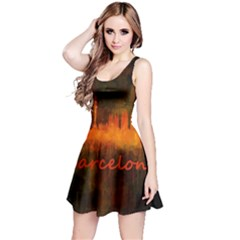 Barcelona City Dark Watercolor Skyline Reversible Sleeveless Dresses