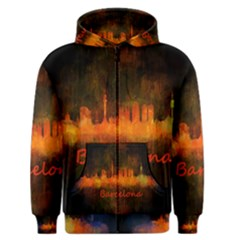 Barcelona City Dark Watercolor Skyline Men s Zipper Hoodies