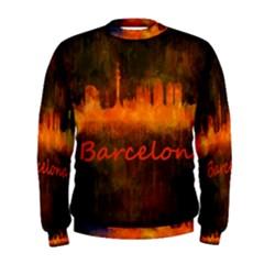 Barcelona City Dark Watercolor Skyline Men s Sweatshirts