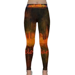 Barcelona City Dark Watercolor Skyline Yoga Leggings