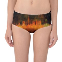 Barcelona City Dark Watercolor Skyline Mid Waist Bikini Bottoms
