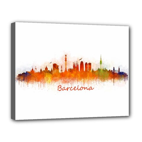 Barcelona City Art Canvas 14  x 11