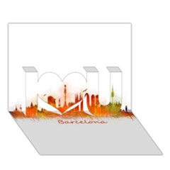 Barcelona City Art I Love You 3D Greeting Card (7x5)