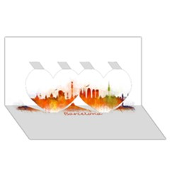 Barcelona City Art Twin Hearts 3d Greeting Card (8x4)