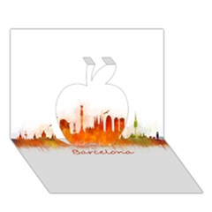 Barcelona City Art Apple 3D Greeting Card (7x5)