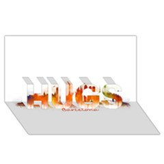 Barcelona City Art Hugs 3d Greeting Card (8x4)