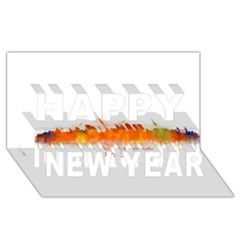 Barcelona City Art Happy New Year 3d Greeting Card (8x4)