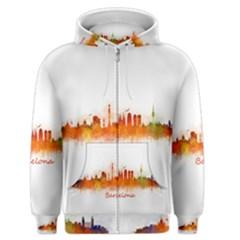 Barcelona City Art Men s Zipper Hoodies