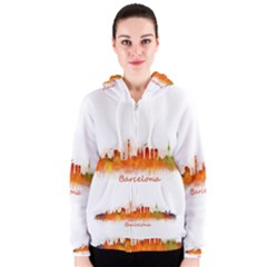 Barcelona City Art Women s Zipper Hoodies