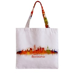 Barcelona City Art Zipper Grocery Tote Bags