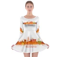Barcelona City Art Long Sleeve Skater Dress