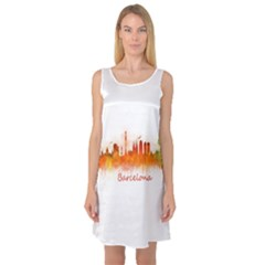 Barcelona City Art Sleeveless Satin Nightdresses