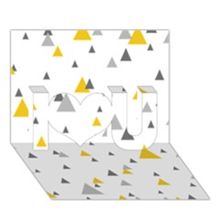 Pastel Random Triangles Modern Pattern I Love You 3D Greeting Card (7x5)