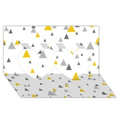 Pastel Random Triangles Modern Pattern Twin Hearts 3d Greeting Card (8x4)