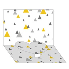 Pastel Random Triangles Modern Pattern Heart Bottom 3D Greeting Card (7x5)