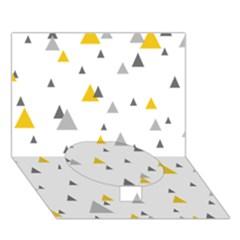 Pastel Random Triangles Modern Pattern Circle Bottom 3d Greeting Card (7x5)
