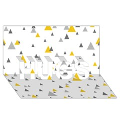 Pastel Random Triangles Modern Pattern Hugs 3d Greeting Card (8x4)