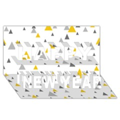 Pastel Random Triangles Modern Pattern Happy New Year 3D Greeting Card (8x4)